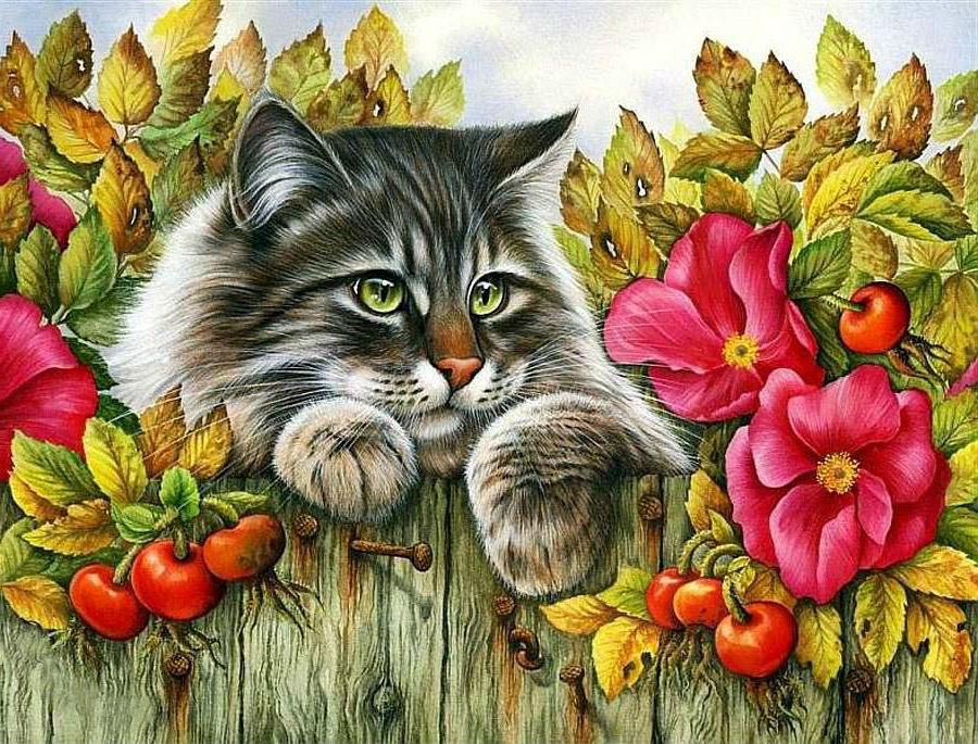 """Предпросмотр схемы вышивки  """"кот в цветах """". кот в цветах, кот, цветы, листья, осень, забор, животные, предпросмотр."""